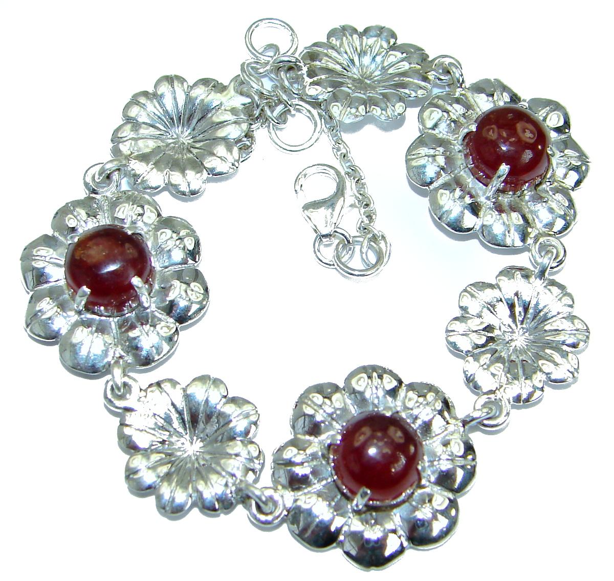 Floral Design Genuine Ruby .925 Sterling Silver handcrafted Bracelet