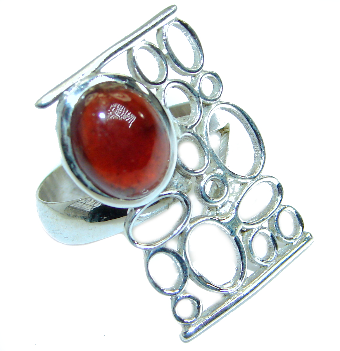 Authentic Ruby .925 Sterling Silver handmade Ring s. 7 adjustable