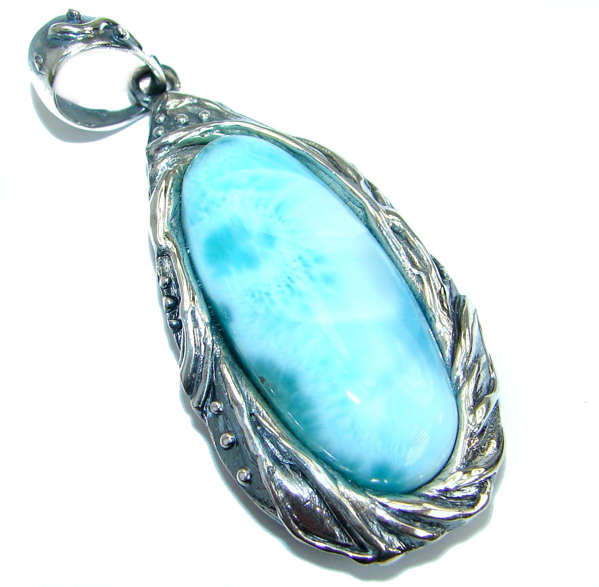 Huge Genuine Larimar .925 Sterling Silver handmade pendant