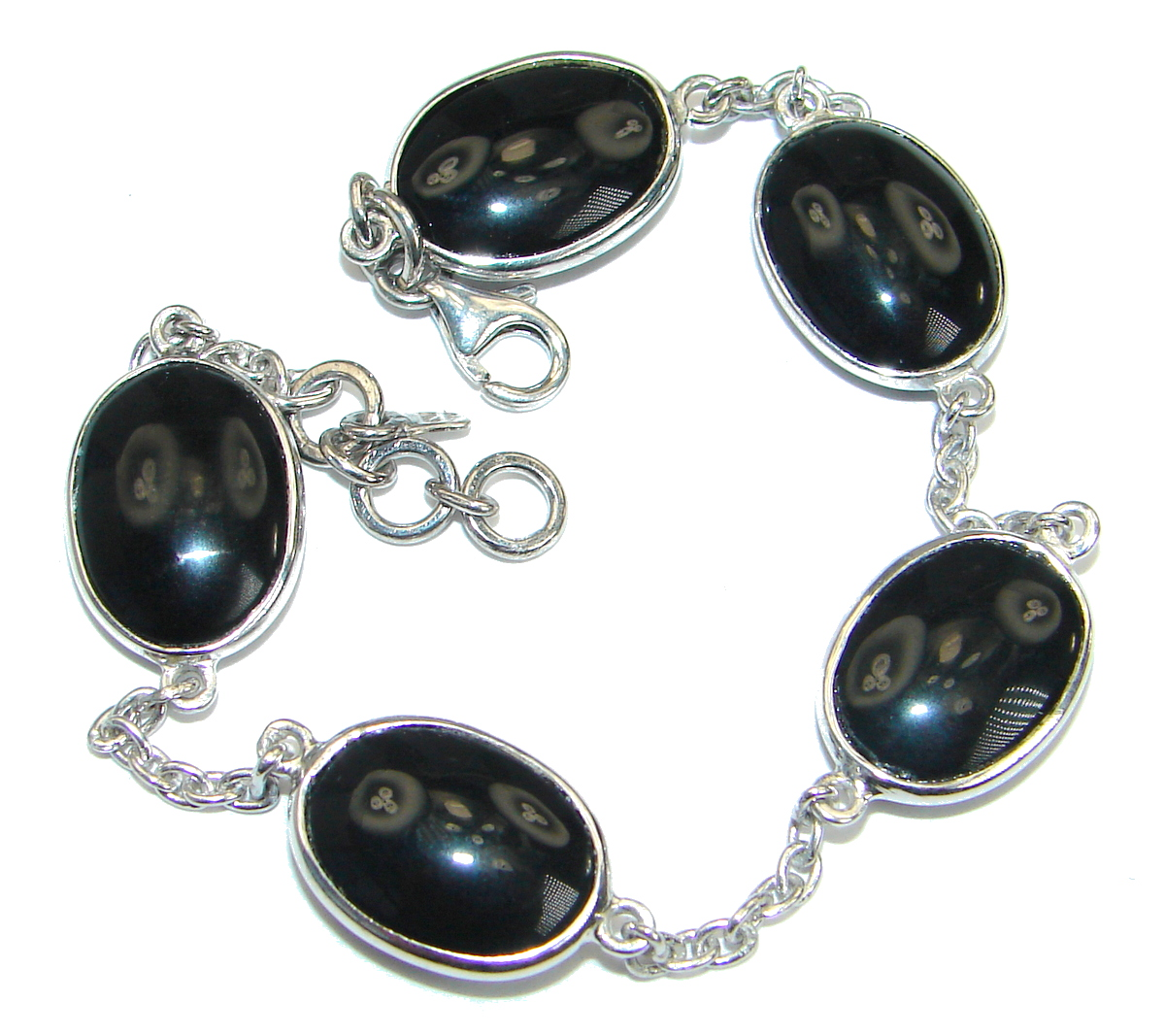 Flawless natural   Onyx   .925  Sterling Silver handcrafted Bracelet