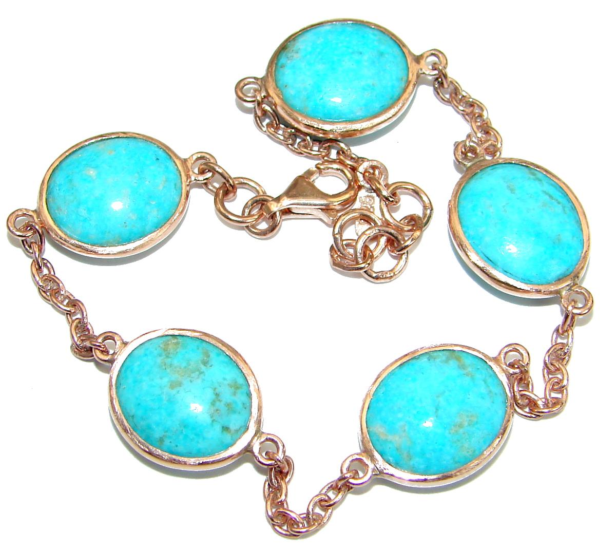 Genuine Turquoise 14K Gold over Sterling Silver handcrafted Bracelet