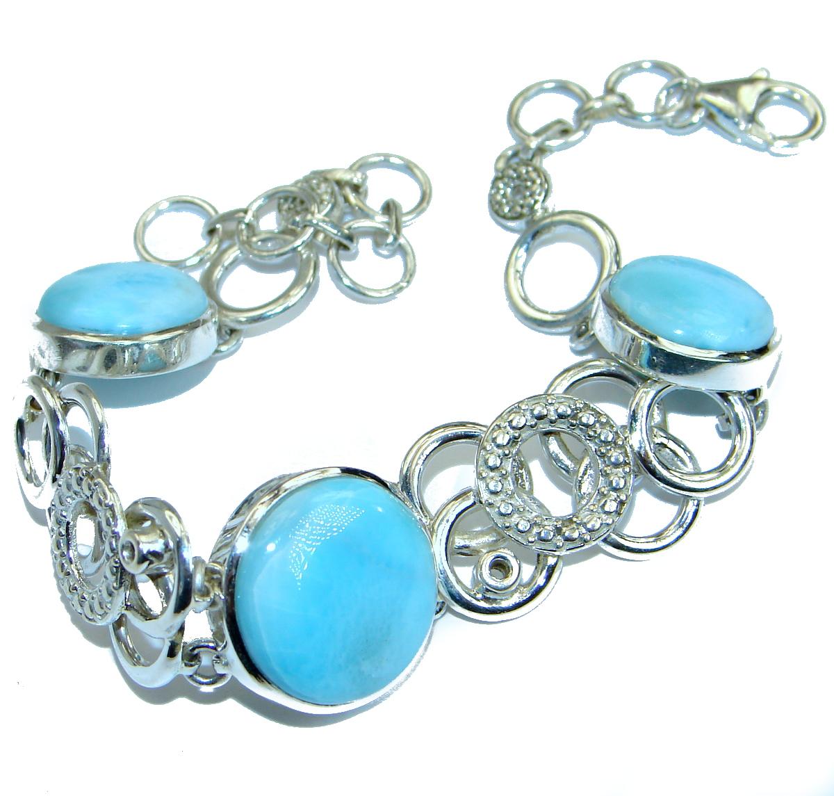 Luxury Genuine  Larimar .925  Sterling Silver handmade Bracelet
