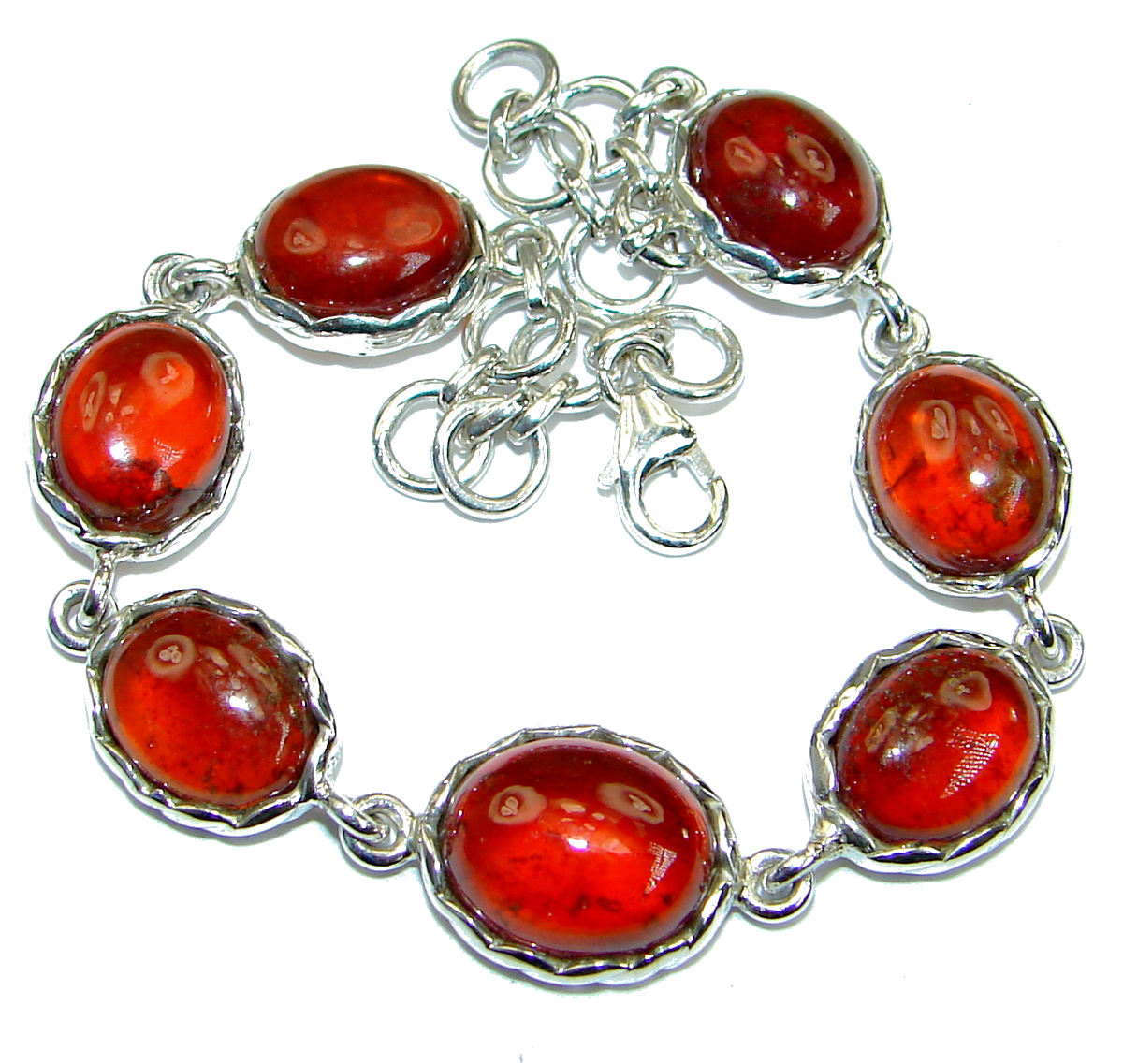 Flawless Passion Red Ruby .925 Sterling Silver handcrafted Bracelet