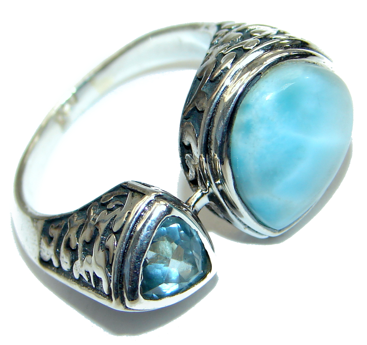 Natural Larimar   .925 Sterling Silver handcrafted  Ring s. 78
