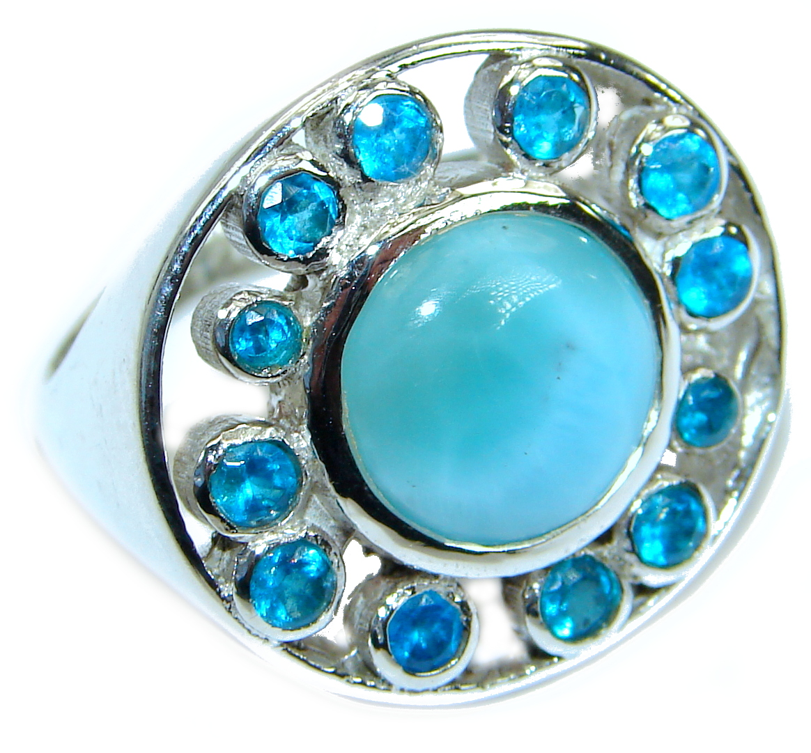 Natural Larimar  .925 Sterling Silver handcrafted  Ring s. 7 1/2
