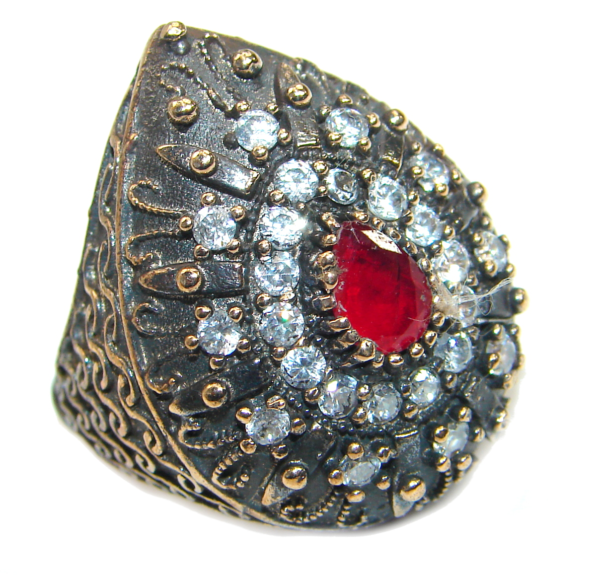 Large Victorian Style created Ruby & White Topaz Sterling Silver ring; s..