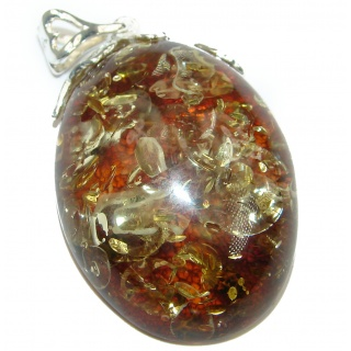 Great Natural Baltic Amber .925 Sterling Silver handmade Pendant