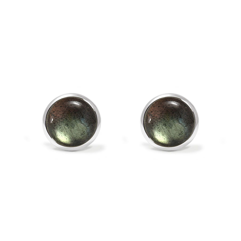 Charming studs earrings in sterling silver with a labradorite