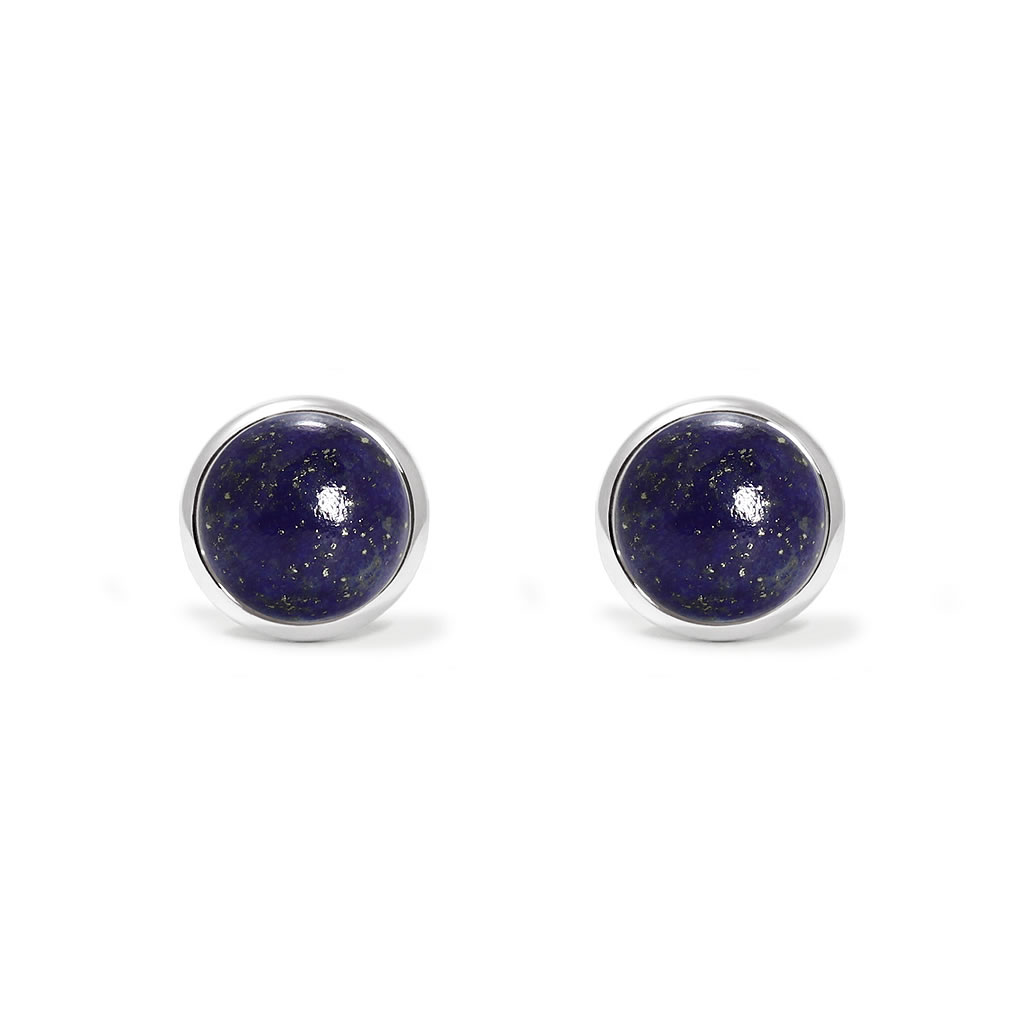 Charming studs earrings in sterling silver with a lapis lazuli