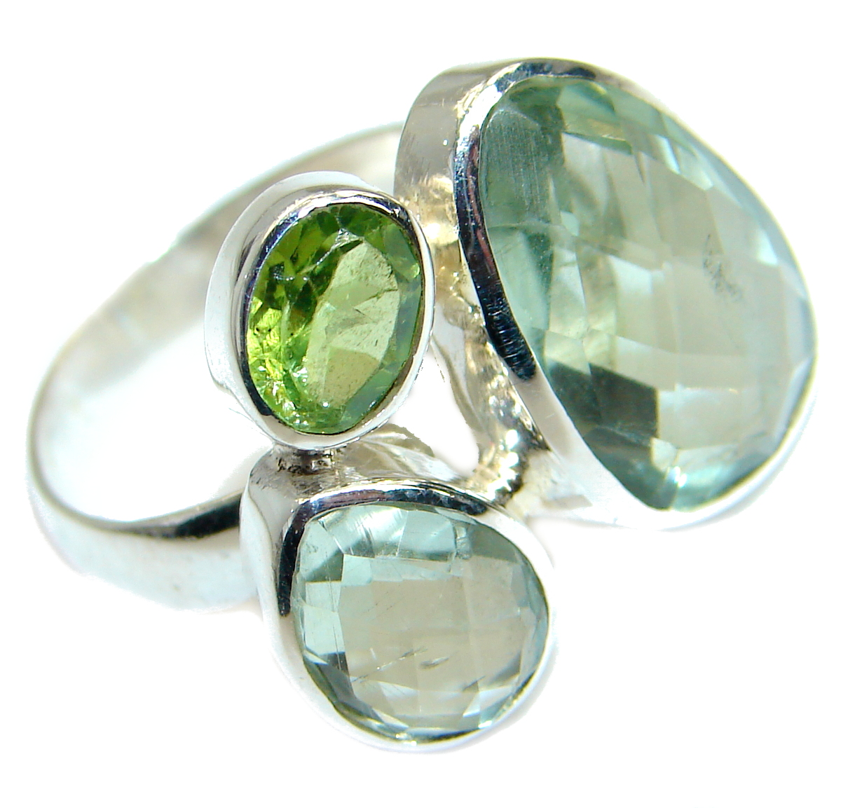 Natural Green Amethyst  .925 Sterling Silver handmade Cocktail Ring s. 6 adj..