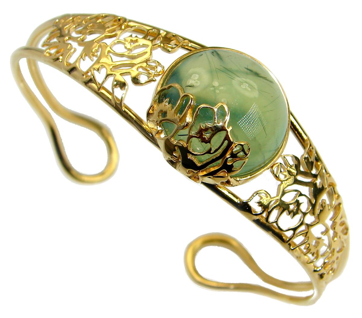 Incredible Genuine Moss Prehnite 18K Gold over .925 Sterling Silver Bracelet / Cuff