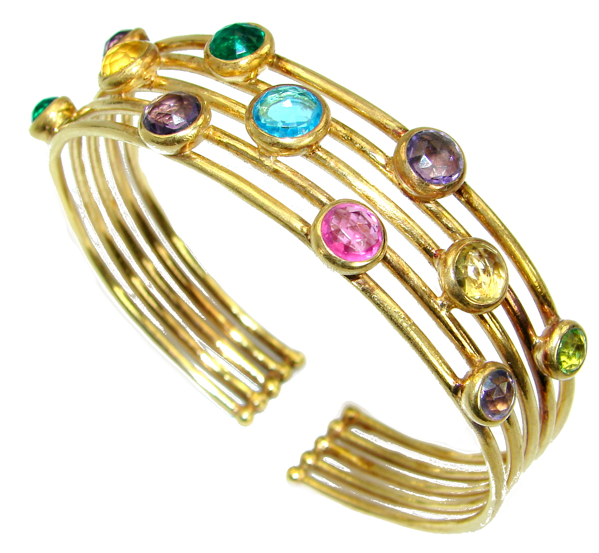 Rainbow Waves 14K Gold over .925 Sterling Silver handcrafted Bracelet / Cuff