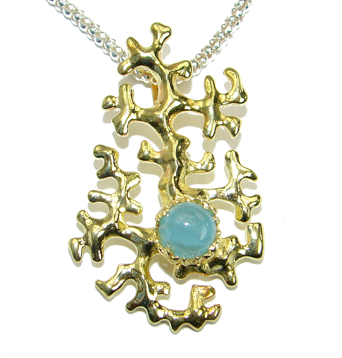 True Art genuine Aquamarine 14K Gold over Rhodium over .925 Sterling Silver handcrafted necklace