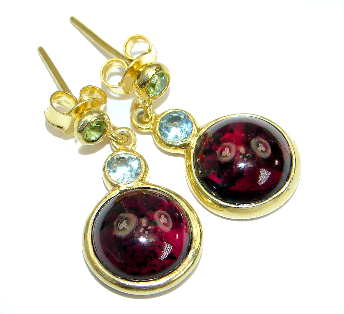 Simple Beauty genuine Garnet 14K Gold over .925  Sterling Silver handcrafted..