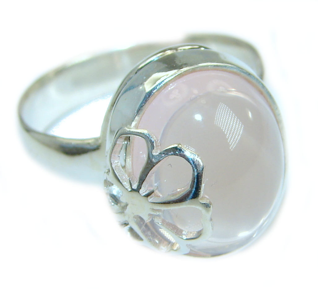 Best Quality Rose Quartz .925 Sterling Silver ring s. 7 3/4