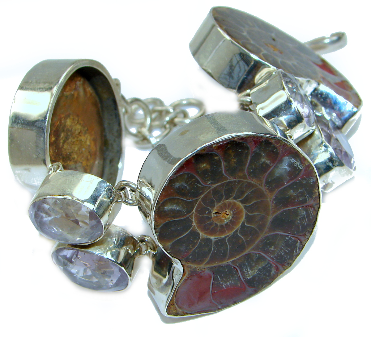 Huge Fantastic Brown Ammonite Fossil .925   Sterling  Silver handcrafted  Br..