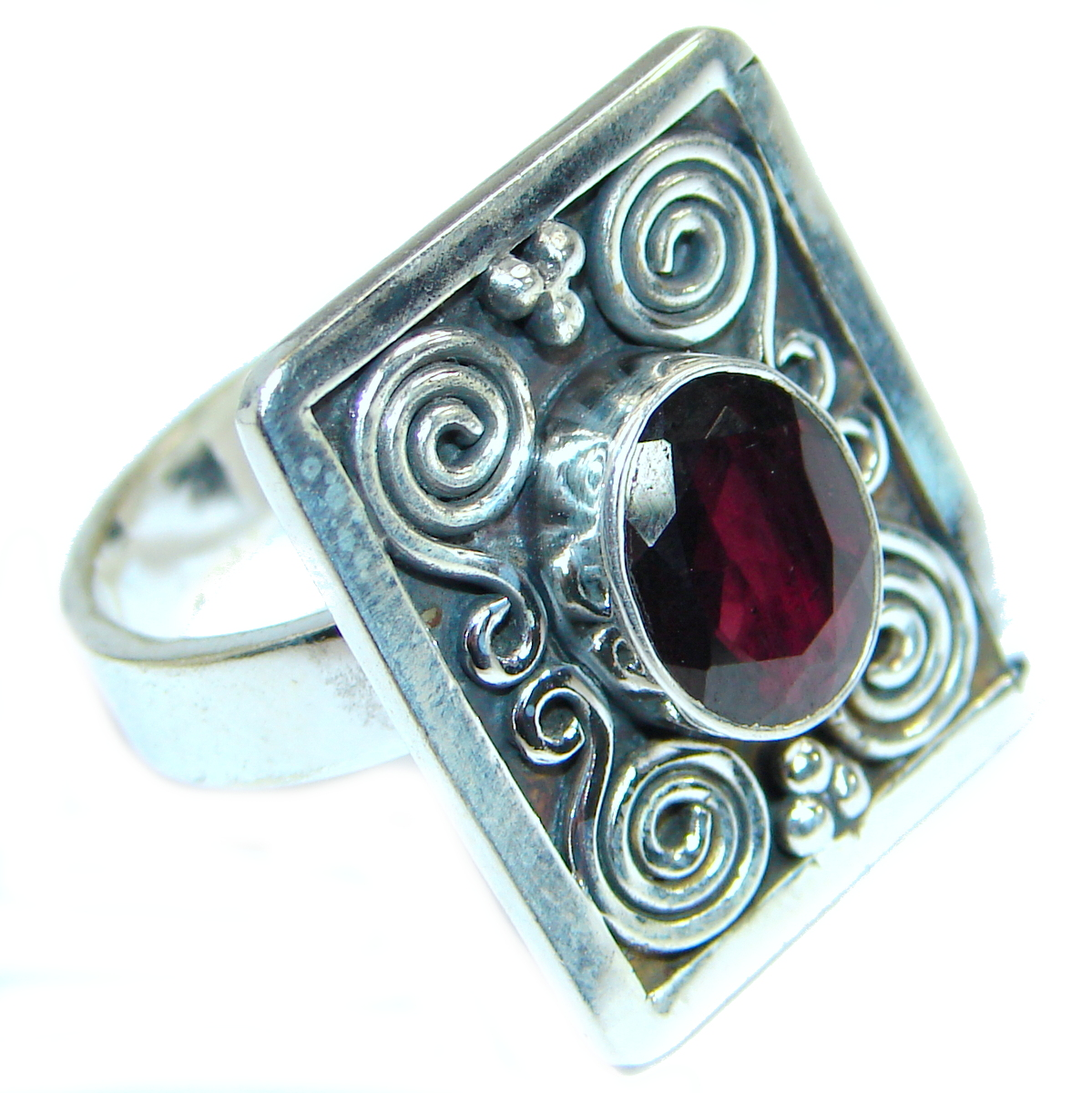 Bold Authentic Garnet  .925 Sterling Silver handmade