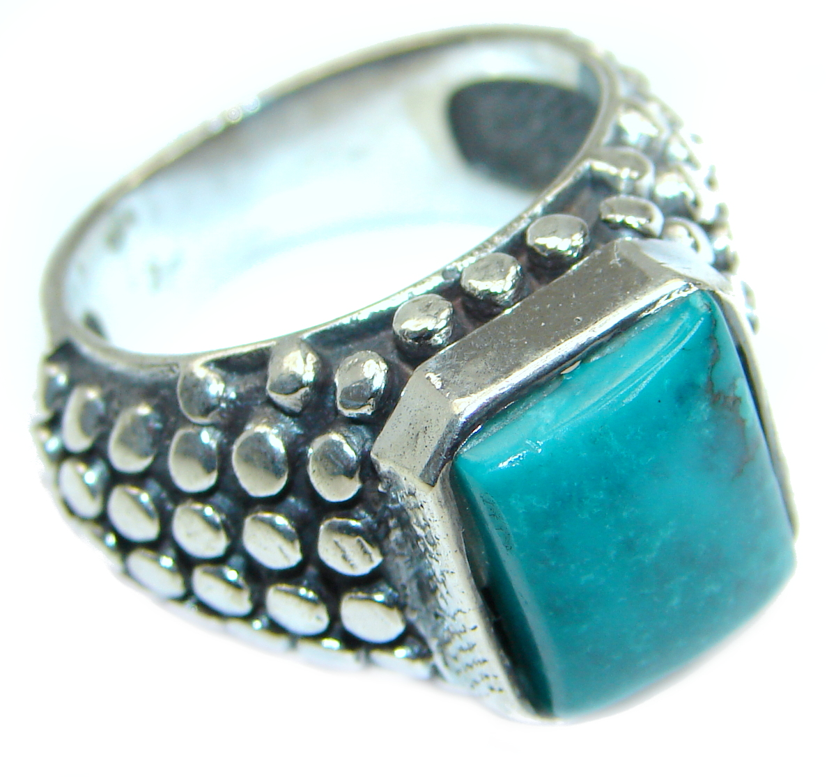 Stone Of Harmony Parrots Wing Chrysocolla Sterling Silver ring s. 9