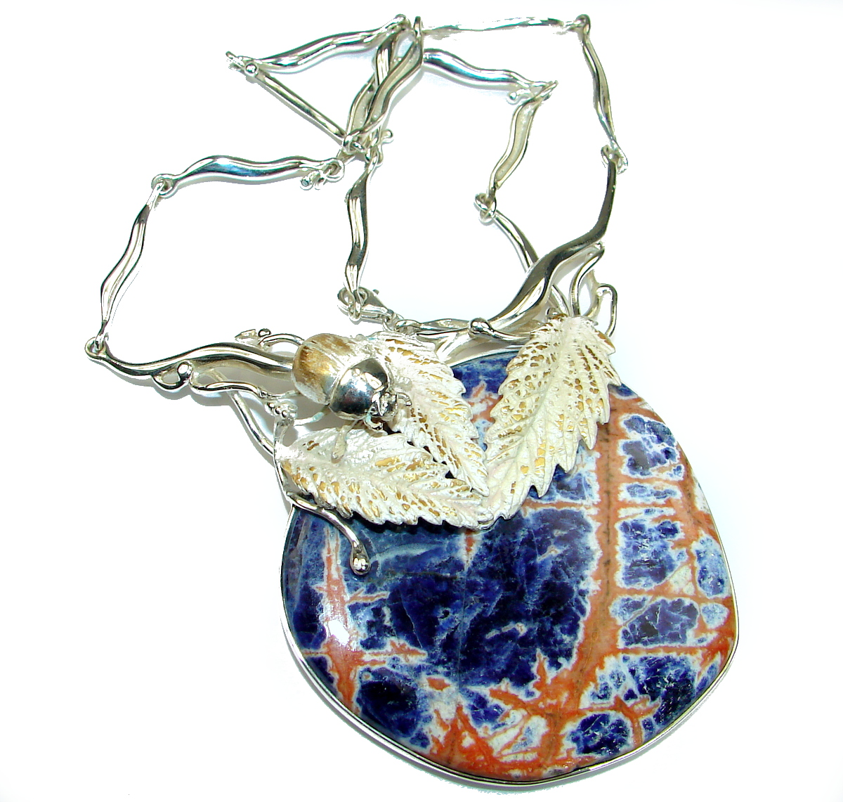 The Beetle Oversized genuine Sodalite .925 Sterling Silver handmade necklace