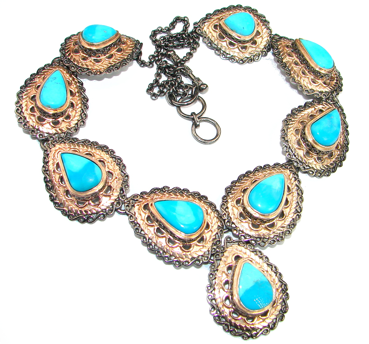 American Spirit Natural Sleeping Beauty Turquoise Gold Rhodium .925 Sterling Silver handmade Necklace