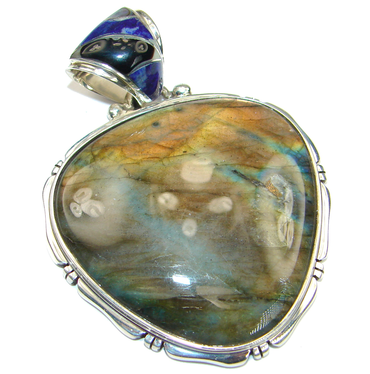 Best Quality Genuine Fire Labradorite .925 Sterling Silver handmade Pendant