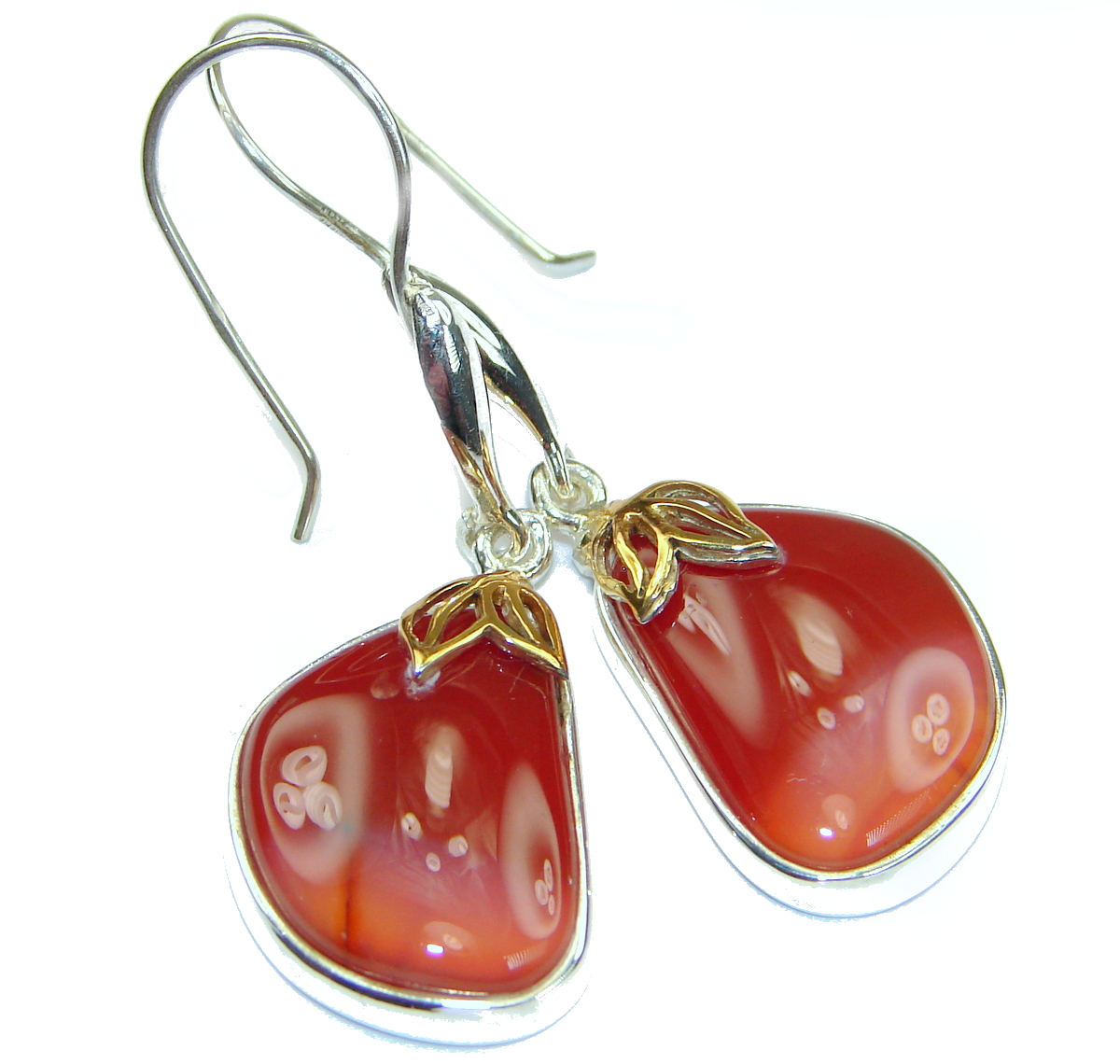 Sublime Orange Carnelian two tones .925 Sterling