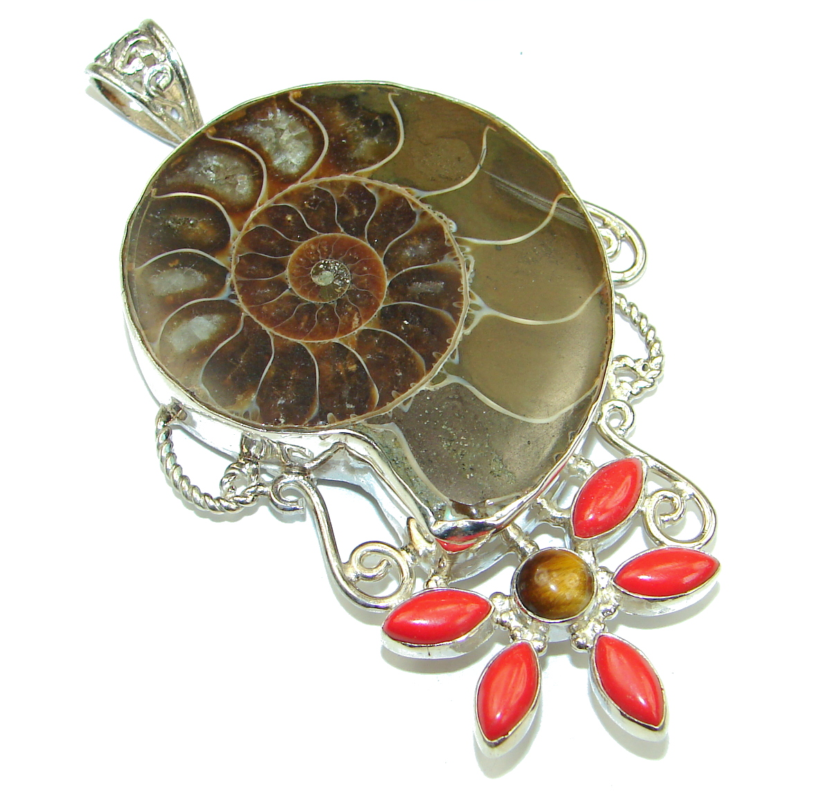 Back to Nature Brown Ammonite Fossil 50.4 grams! .925 Sterling Silver handma..