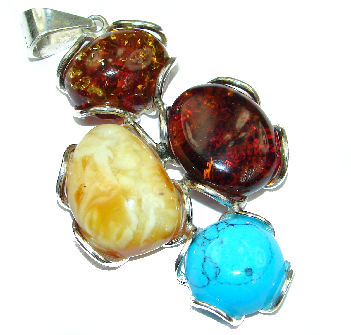 Natural Beauty Baltic Polish Amber & Turquoise Sterling Silver handmade Pendant