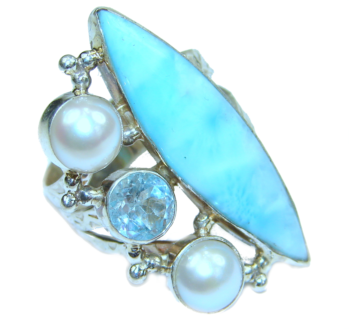 Natural Larimar .925 Sterling Silver handcrafted  Ring s. 8