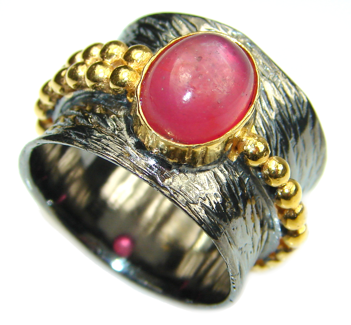 Ruby 14K Gold Rhodium over .925 Sterling Silver handmade Cocktail Ring s. 8