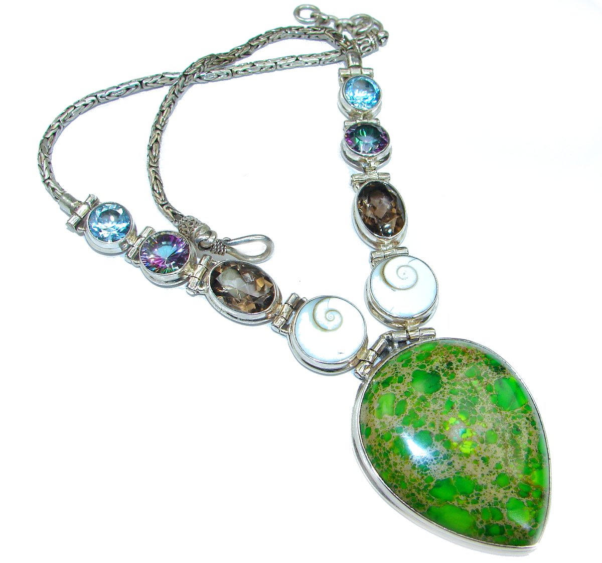 Emily Sea Sediment Jasper oxidized .925 Sterling Silver handmade necklace