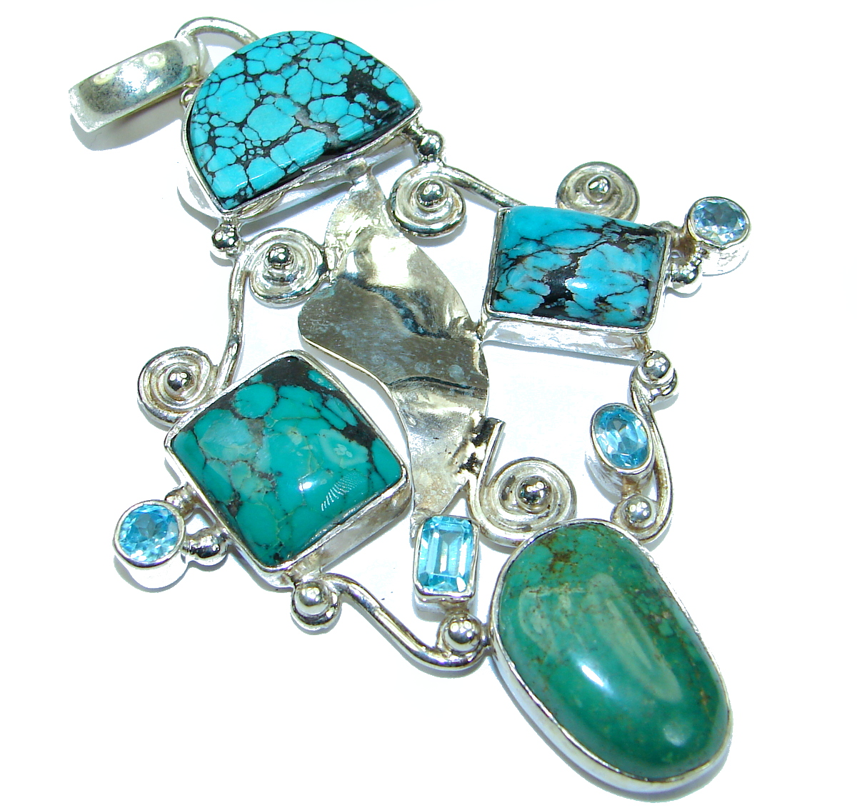 Exquisite Beauty genuine Turquoise .925 Sterling Silver handmade Pendant