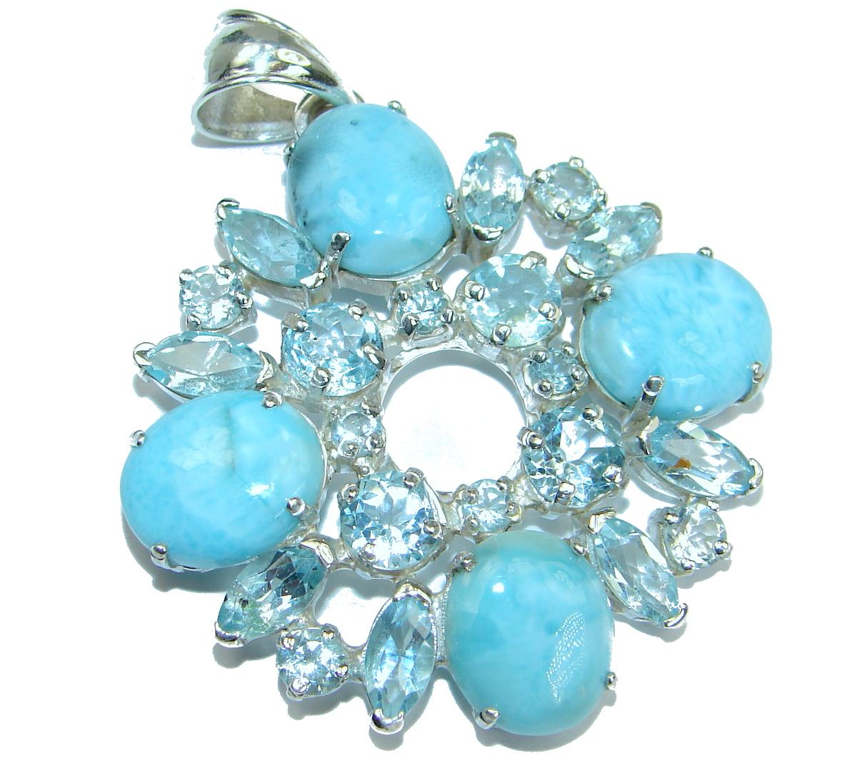 Sky Delight genuine Larimar Swiss Blue Topaz .925 Sterling Silver handmade pendant