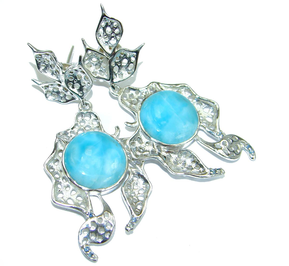 Precious genuine Blue Larimar Kyanite .925 Sterling Silver handmade earrings