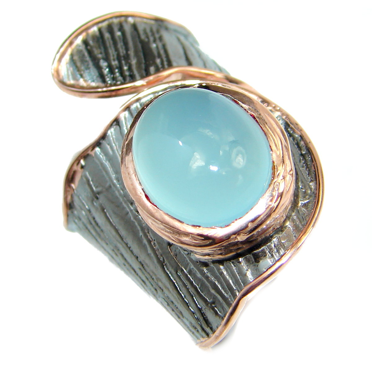 Genuine Chalcedony Agate Gold Rhodium over .925 Sterling Silver ring s. 7 adjustable