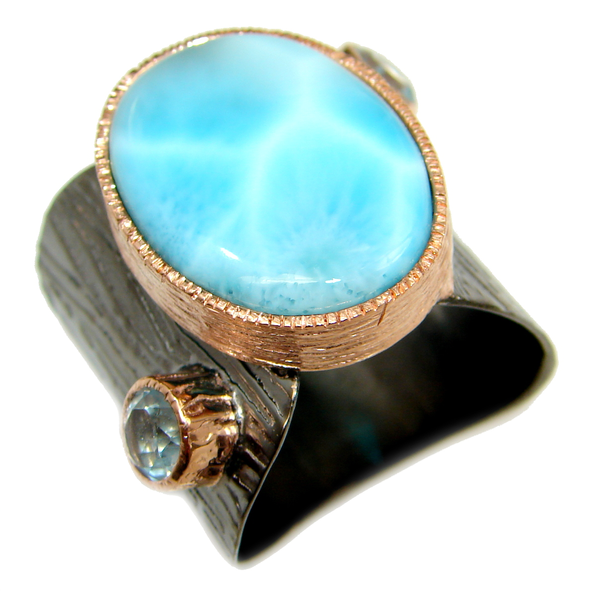Natural Larimar Rhodium Gold over .925 Sterling Silver handcrafted  Ring s. ..