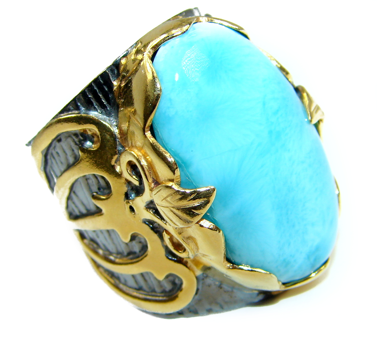 Natural Larimar Rhodium Gold over .925 Sterling Silver handcrafted  Ring s. 7