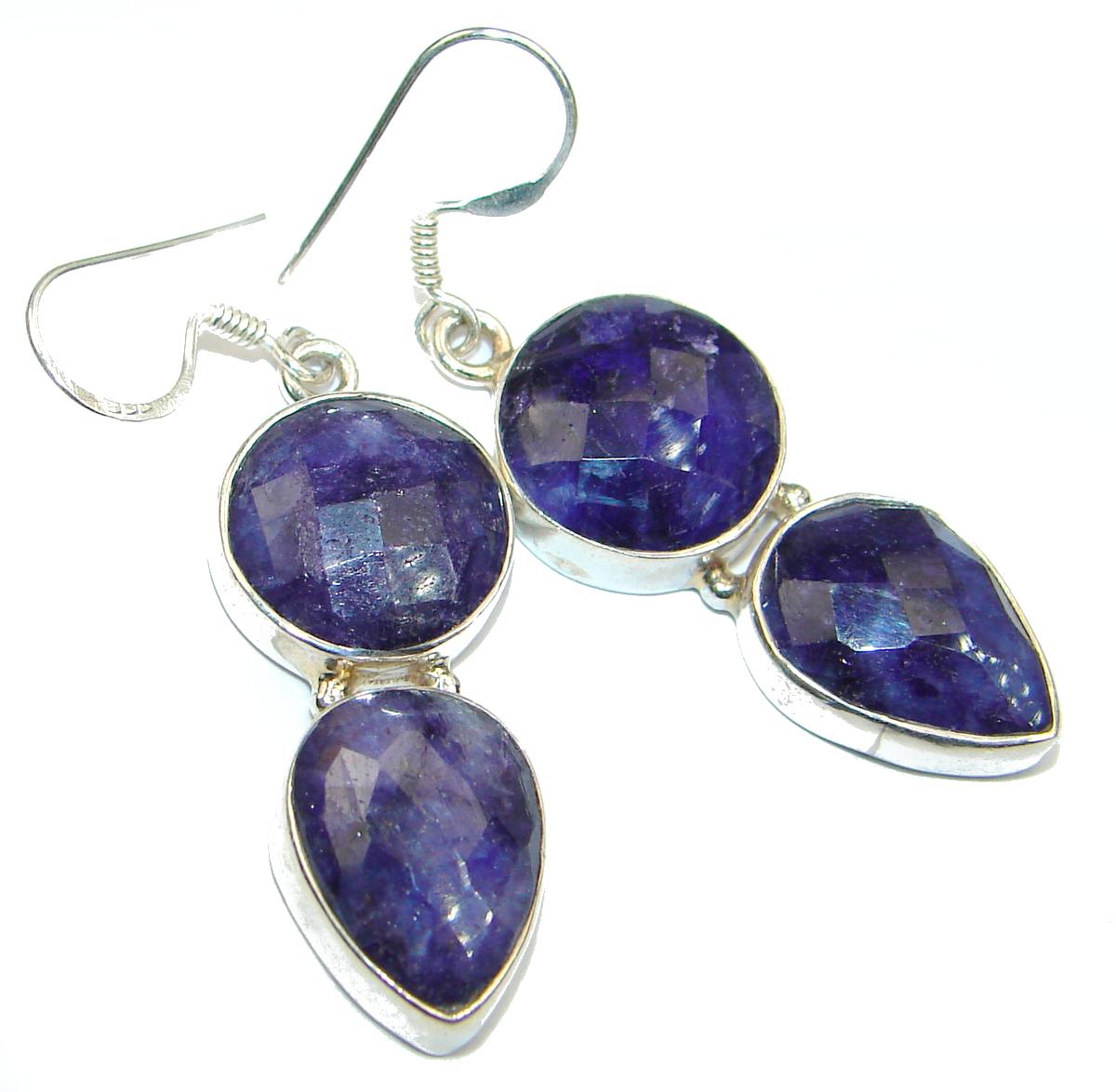 Secret Beauty Sapphire .925 Sterling Silver hook earrings
