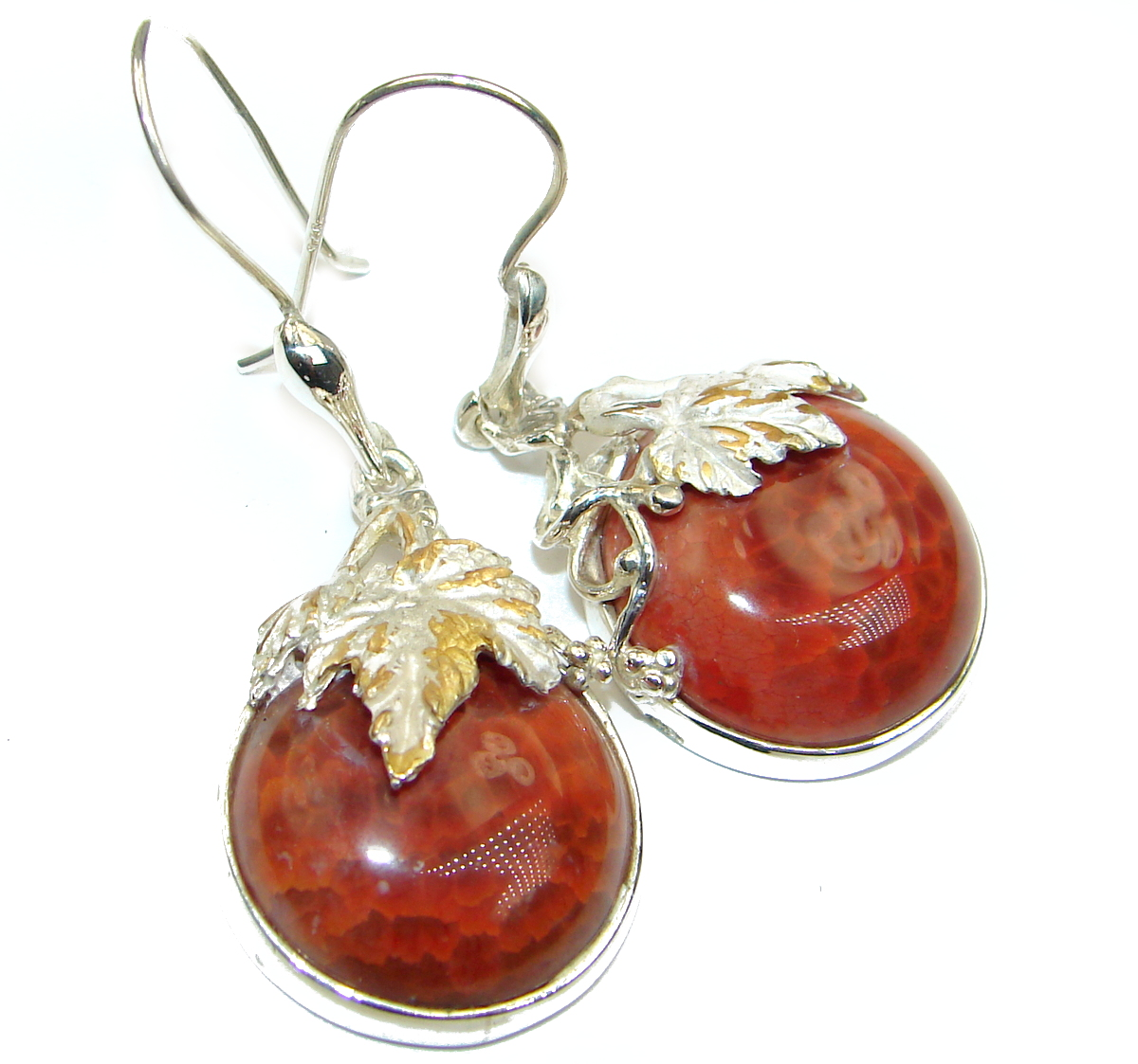 Unique design genuine Mexican Agate .925 Sterling Silver handmade earrings