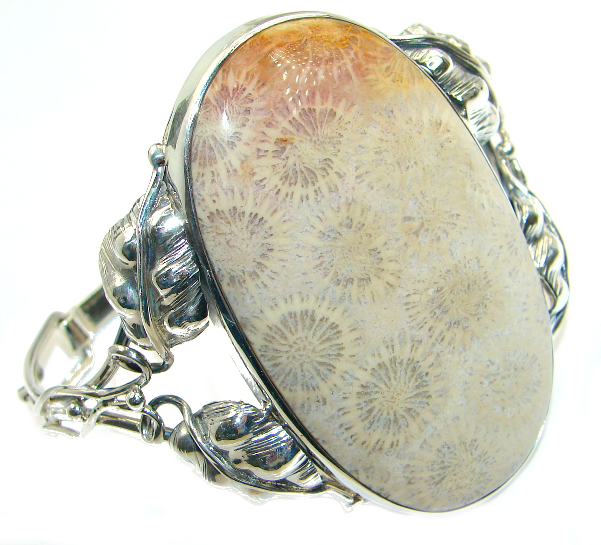 Chunky Genuine Fossilized Coral .925  over Sterling Silver handcrafted Brace..
