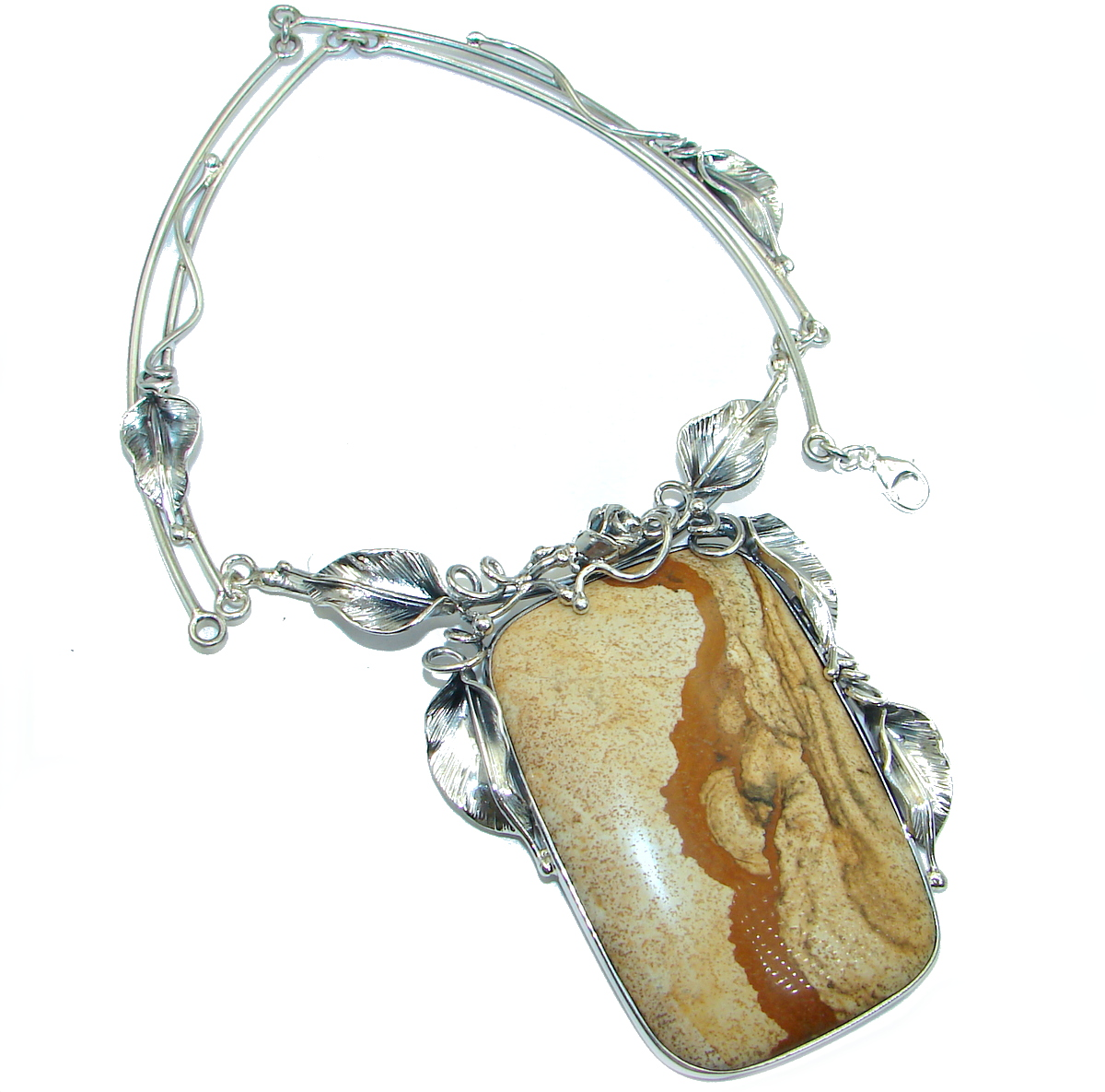 Huge Sweet Earth Picture Jasper .925 Sterling Silver Handcrafted Necklace