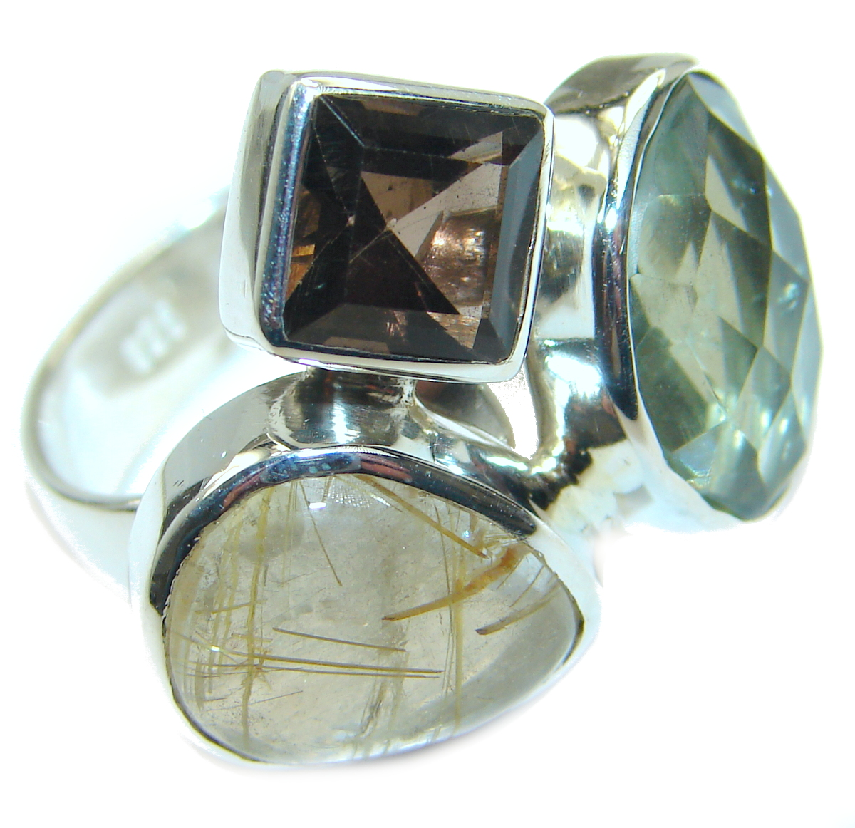 Golden Rutilated Quartz  .925 Sterling Silver handcrafted Ring Size  7 adjus..