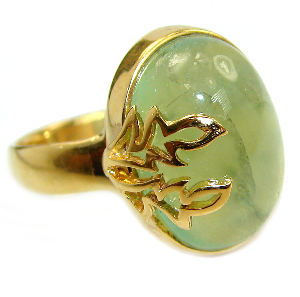 Prehnite 14K Gold over .925 Sterling Silver handmade Cocktail Ring s. 7 1/2