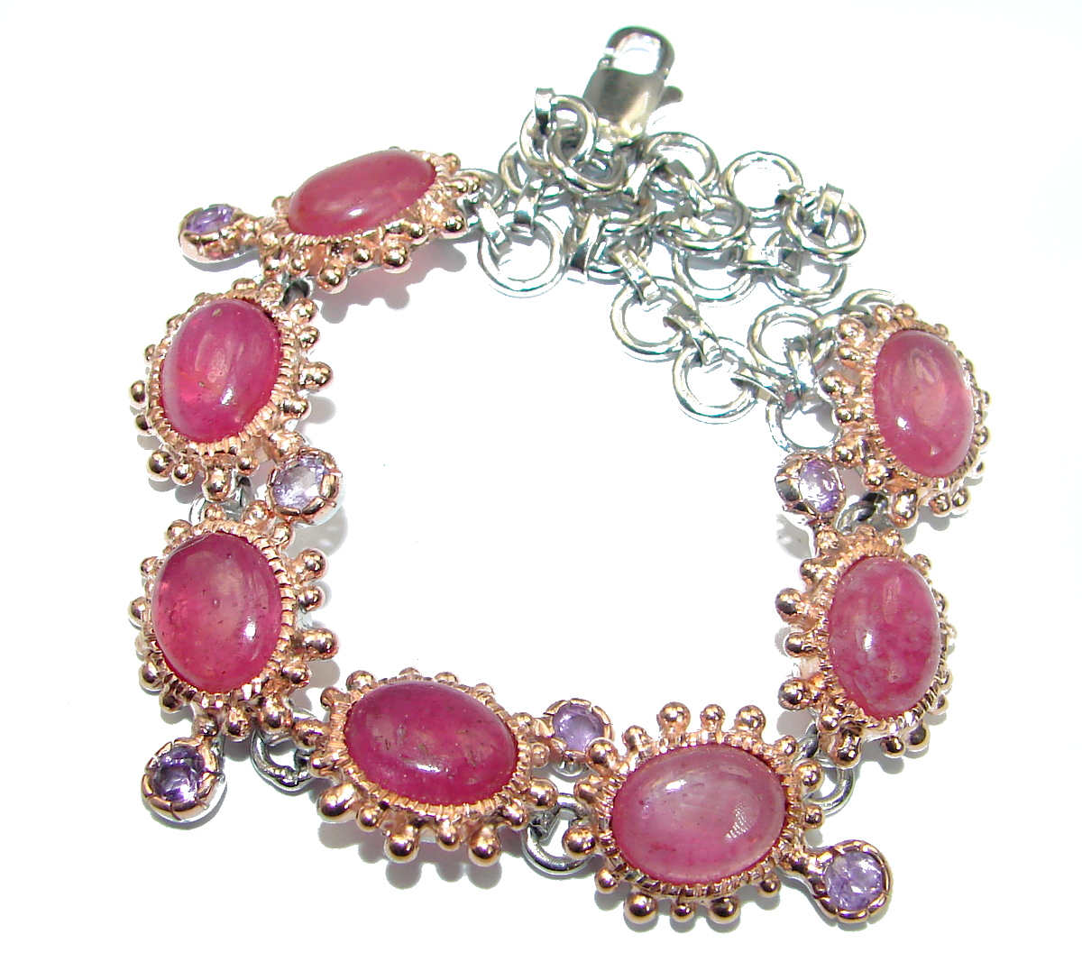 Flawless Passion Red Ruby 14K Gold over .925 Sterling Silver handcrafted Bracelet