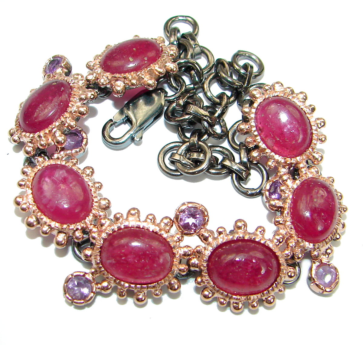 Flawless Red Ruby 14K Gold over .925 Sterling Silver handcrafted Bracelet