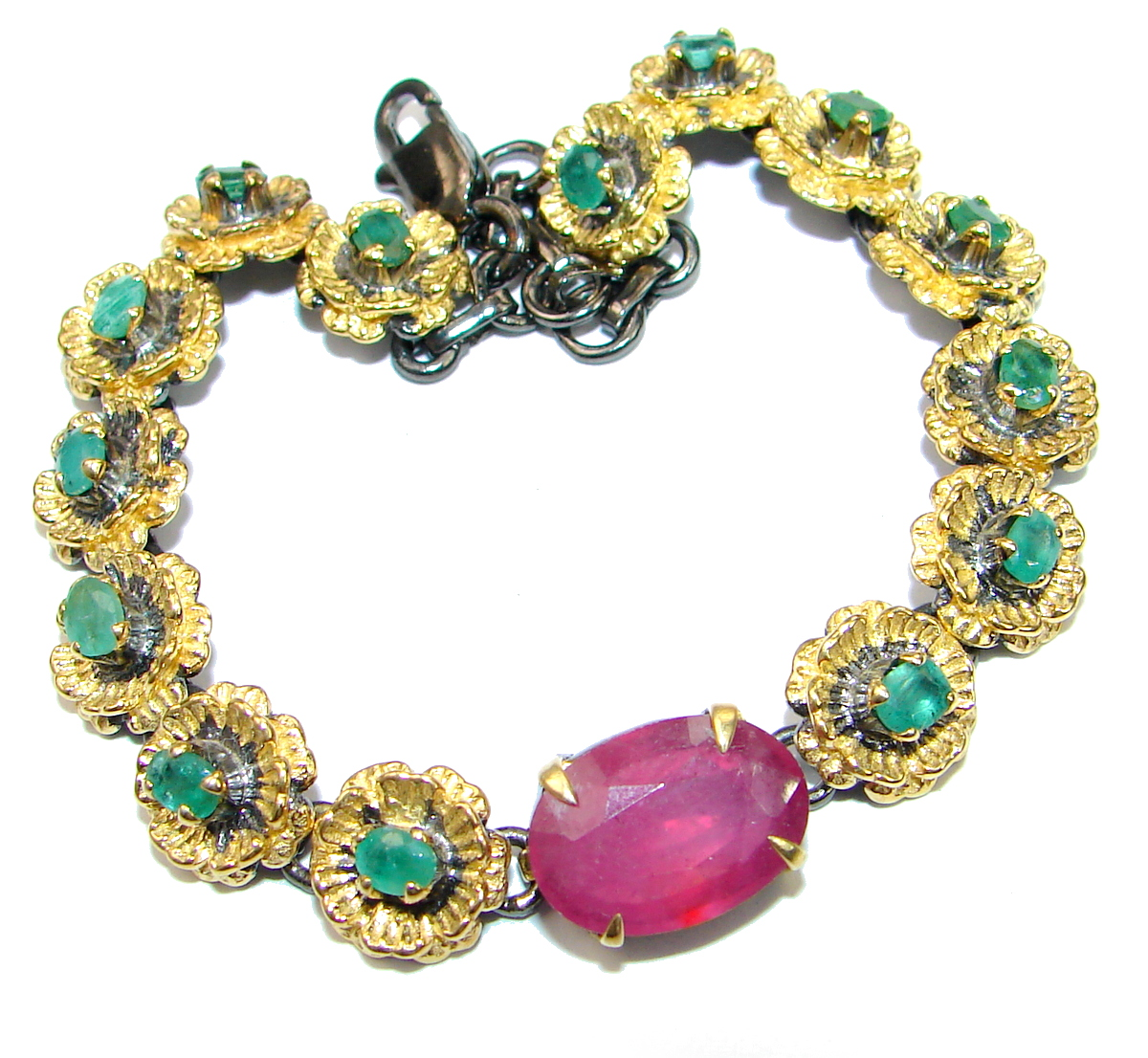 Authentic Red Ruby Emerald 14K Gold over .925 Sterling Silver handcrafted Bracelet
