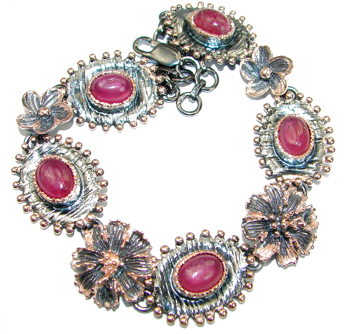 Authentic Red Ruby 14K Rose Gold over .925 Sterling Silver handcrafted Bracelet