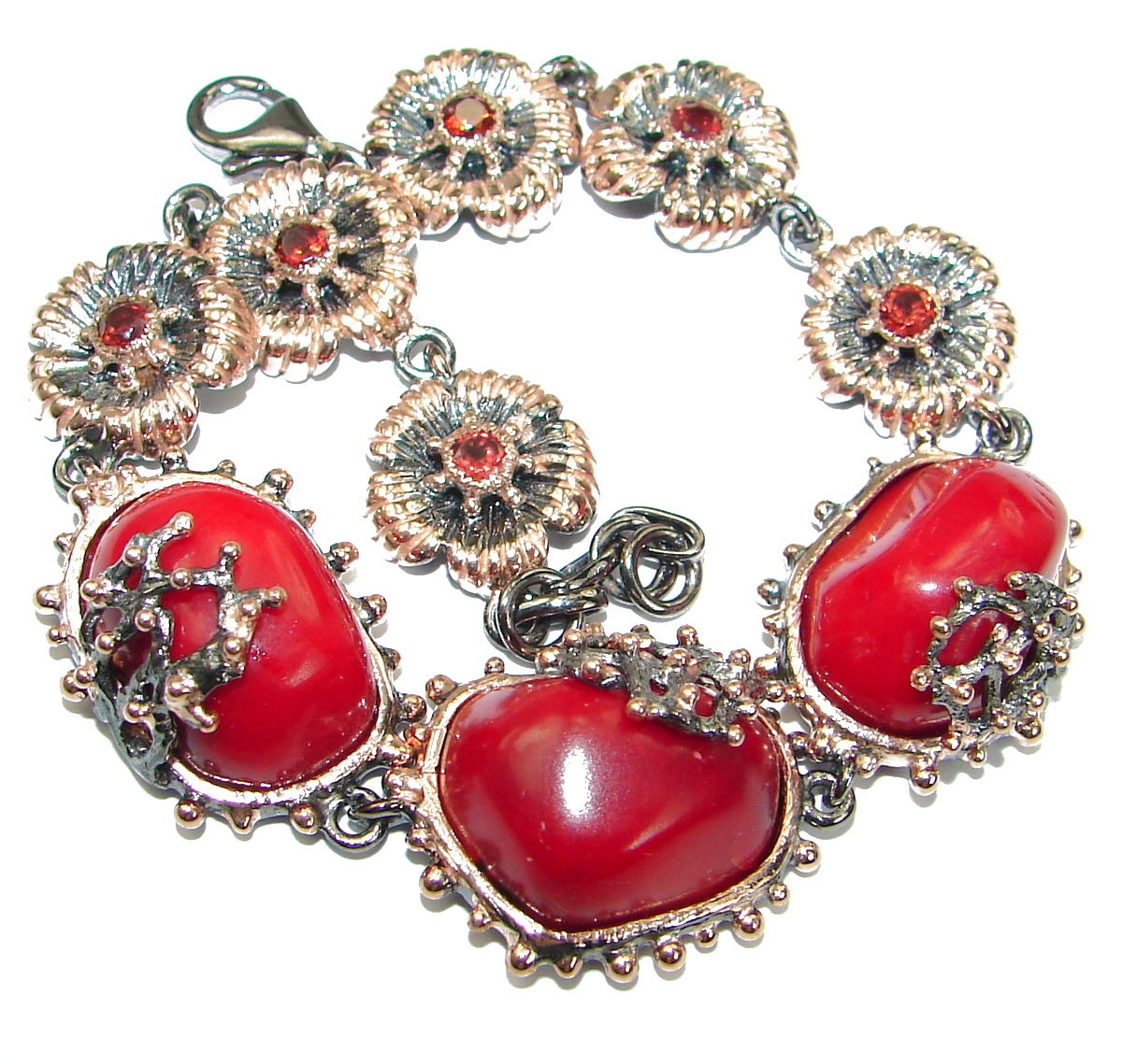 Precious Fossilized Coral Gold over  .925 Sterling Silver handcrafted Bracelet