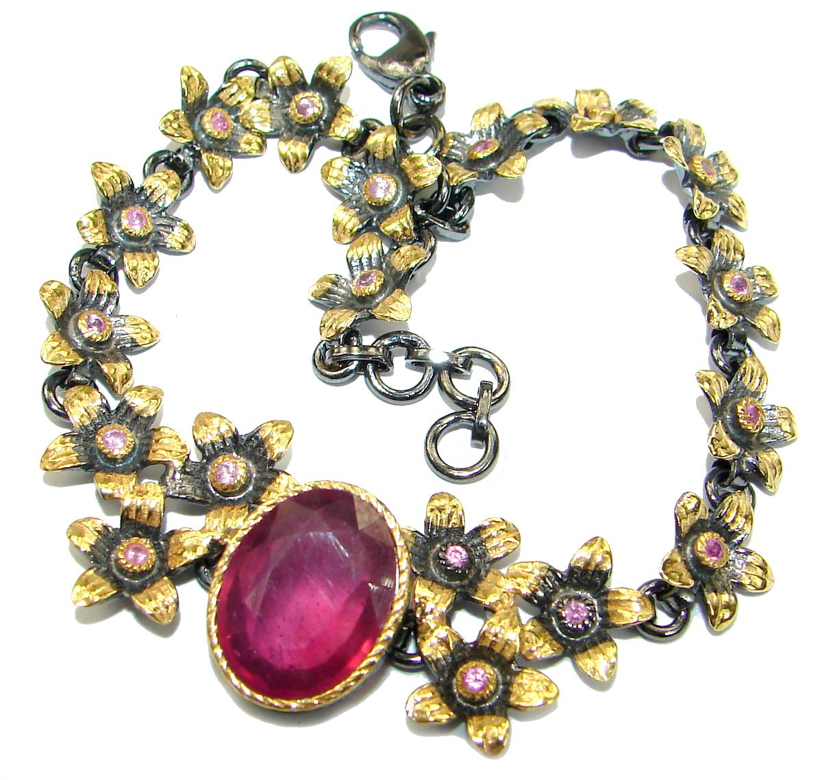 Red Ruby 14K Rose Gold over .925 Sterling Silver handcrafted Bracelet