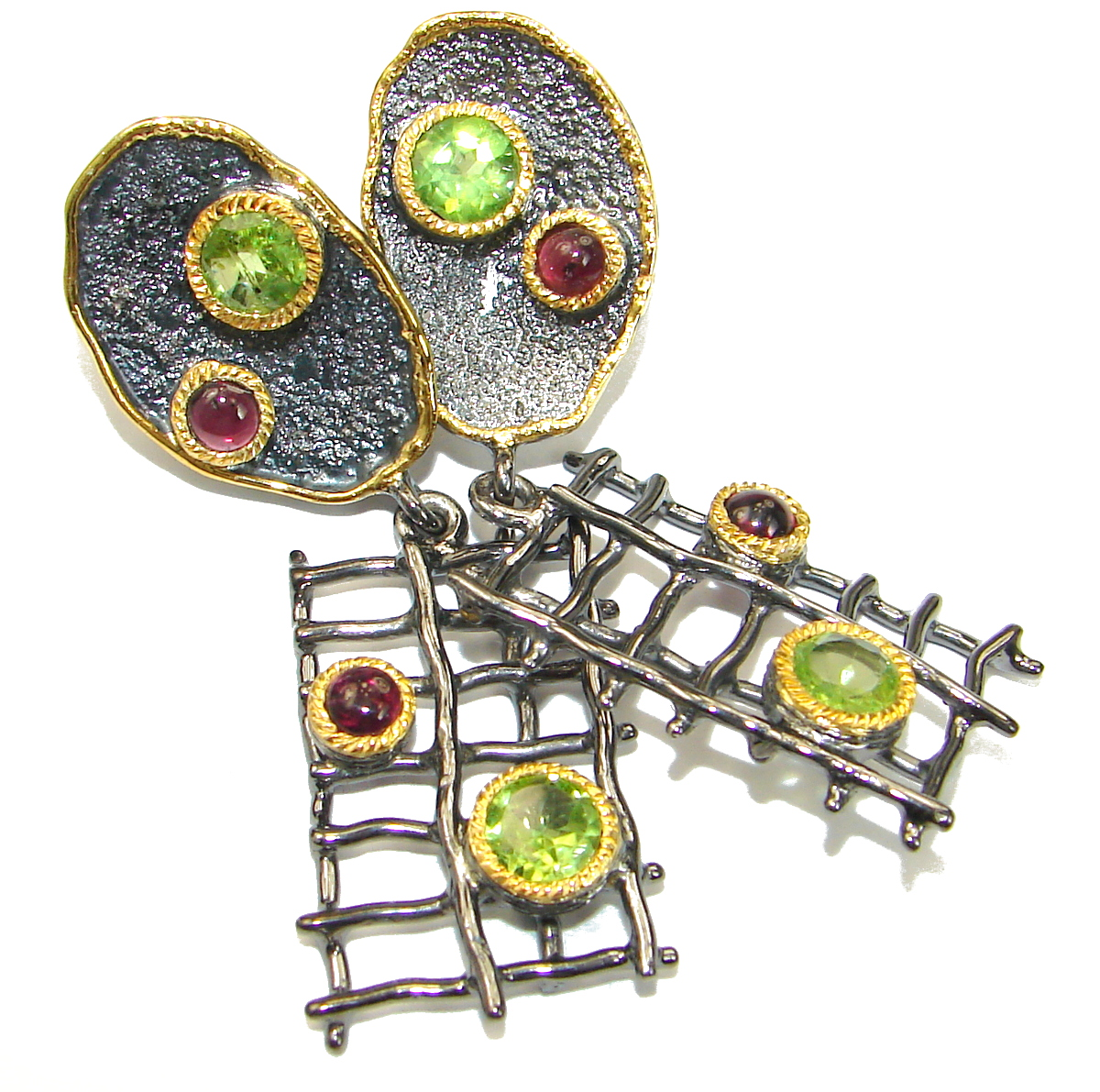 New Era Authentic Peridot Garnet .925 Sterling Silver handmade earrings